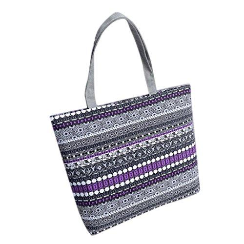 Multifunctional Shopping Shoulder Purple Hand Luoluoluo Bag Shoulder Print Canvas Simple Girl Handbag Canvas xwqq4ptIg
