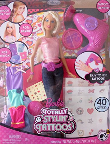 BARBIE Totally STYLIN' TATTOOS Doll w TATTOO STAMPER, Tattoos & Extra FASHIONS (2008) (Tattoos With Barbie)