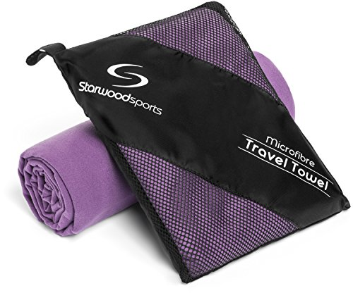 Microfiber Travel Towel - Sports Towel for the Gym - Beach - Camping - Swimming - Yoga - Pilates - Quick Dry - Lightweight - Compact - Antibacterial (Purple, 60 X 30 Inches)