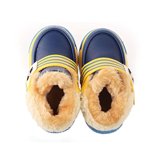 Happy Cherry Baby Schuhe Boots Jungen Winter Stiefel PU Baumwolle Lauflernschuhe Babyschuhe 14.5cm Kleinkind Krabbelschuhe für Baby 12-18 Monate Größe 22.5-23 - Braun Blau