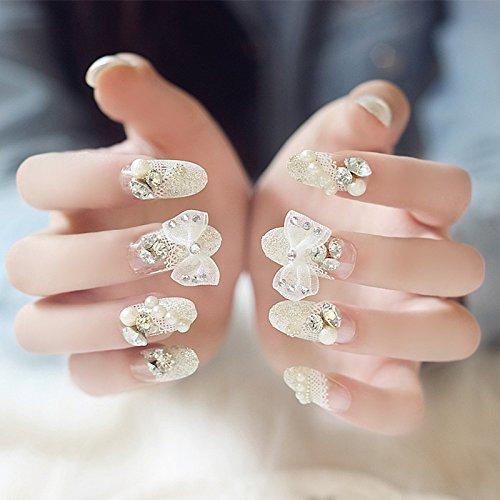 Lznlink 24 Pcs/set Crystal Bowknot False Finger Nails Tips Acrylic Pre Designed Wedding Bridal Fake Nail Sticker