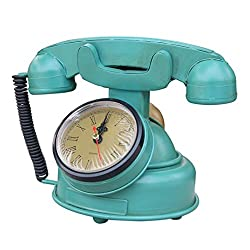 D DOLITY Blue Retro Vintage Antique Metal Telephone Dial Desk Phone Wall Clock Prop Ornament Collectiable