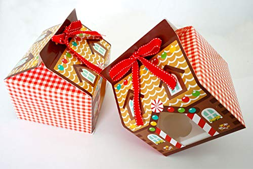 DishyKooker New Year 2015 Christmas 4 Hole Cupcake Packaging Box/Christmas Cake Box/Cake Carry Holder Open Window with Ribbon Show by DishyKooker (Image #3)