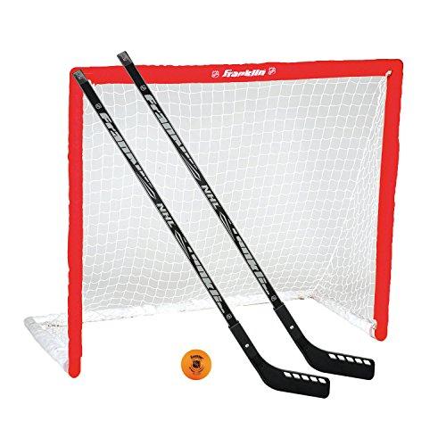Franklin NHL Streethockey Tor PVC & Schlägerset 2 Junior Hockey-Schläger 46 Zoll + Hockeyball, Freizeit & Sport - Mehrfarbig