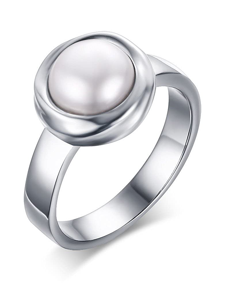 Vnox Womens Stainless Steel Round Mother of Pearl Inlay Wedding Engagement Bezel Band Ring Silver VNOX Jewelry RC--279