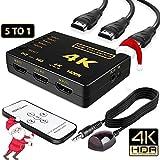 Alwaysonline 4K 5-Port Intelligent HDMI Switch, Full HD1080p, 3D with IR Remote (Black)