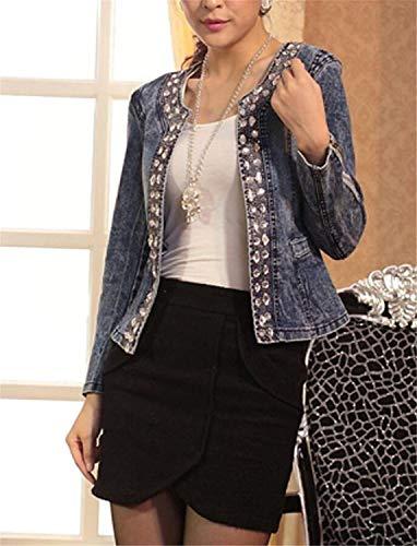 Primaverile Festa Autunno Giacca Outwear Ragazze Style Manica Femminilità Cappotto Lunga Fashion Donna Jacket Diamante Cardigan Eleganti Abbottonatura Unico Moda Blu Jeans Casual Alla 0S5ZEwfx