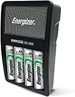 Energizer NiMH Charger + 4 AA NiMH Indoor battery charger Plata - Cargador (100-240, 50/60, Níquel-metal hidruro (NiMH), AA, 120 mm, 67 mm)