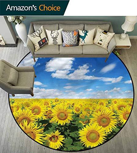 RUGSMAT Sunflower Washable Creative Modern Round Rug,Fresh Field Country Oriental Floor and Carpets Round-59