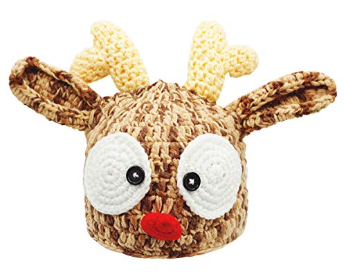 Bienvenu Christmas Santa's Reindeer Crochet Toddler Baby Hat Beanie Photo Prop,S Brown