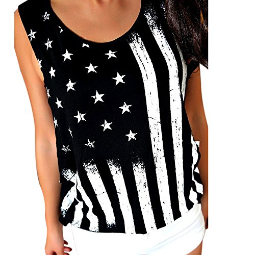 - Ladies American Flag Print T-Shirt Casual Round Neck Sleeveless Vest Cropped Top Summer Fashion Vest T-Shirt MEEYA Black