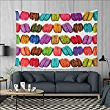 Anniutwo Colorful Art Wall Decor French Macarons in a Row Coffee Shop Cookies Flavours Pastry Bakery Food Design Tapestry Wall Tapestry W60 x L51 (inch) Multicolor