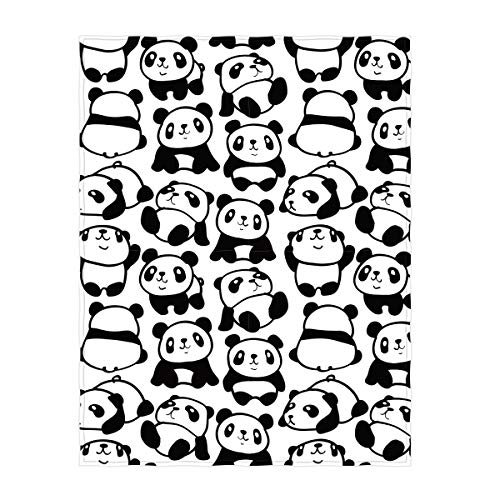 - QH 58 x 80 Inch Cute Panda Pattern Super Soft Throw Blanket for Bed Couch Sofa Lightweight Travelling Camping Throw Size for Kids Adult All Season