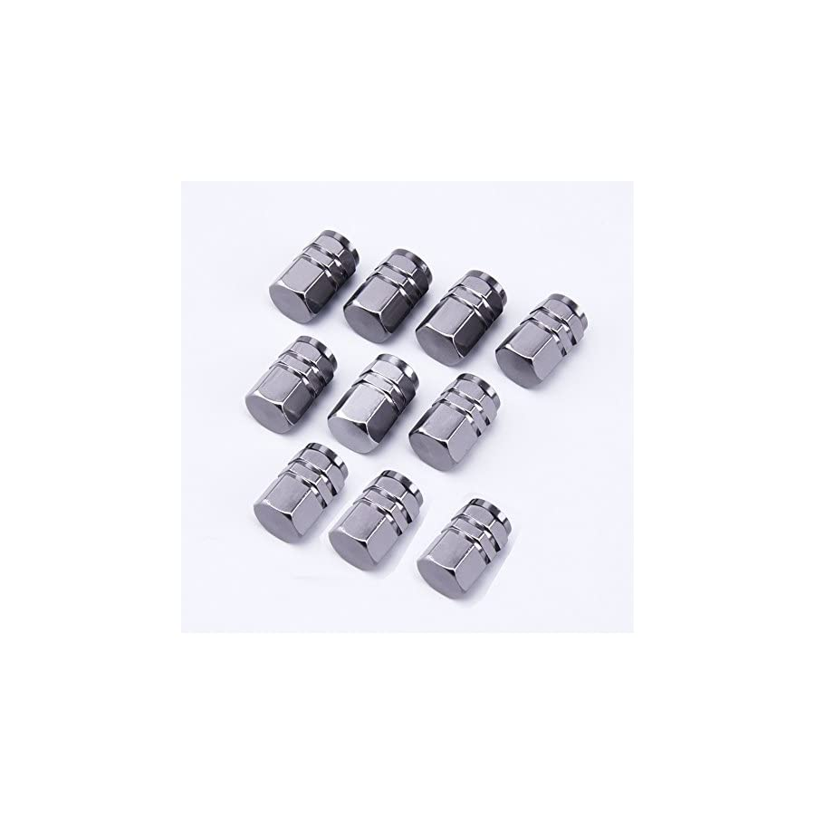 BronaGrand 10pcs Valve Stem Caps Car Auto Tyre Tire Valve Stem Covers Caps,Gun grey
