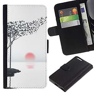 TaiTech / - Hojas Arte Aves Negro Blanco Rojo Sun - Apple Iphone 6 PLUS 5.5