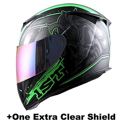 1STorm Motorcycle Full Face Helmet Skull King Matt Green+ One Extra Clear Shield, Size Large (57-58 CM,22.4/22.8 ()
