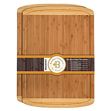 Premium Bamboo Cutting Board Set of 2 Large Chopping Board with Deep juice Groove, Thick Butcher Block. Perfect Gift Idea