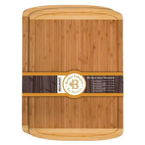 Premium Bamboo Cutting Board Set of 2 Large Chopping Board with Deep juice Groove, Thick Butcher Block. Perfect Gift Idea. By ()