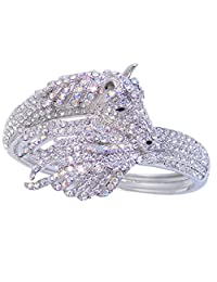Ever Faith Silver-Tone Sleeping Pegasus Austrian Crystal Bracelet