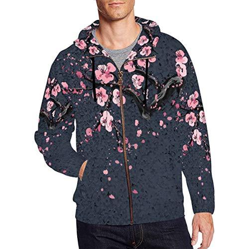 InterestPrint Men's Japanese Cherry Sakura Blossom Tree Novelty Full Zip Hoodies Sweatshirt Pockets Large ()