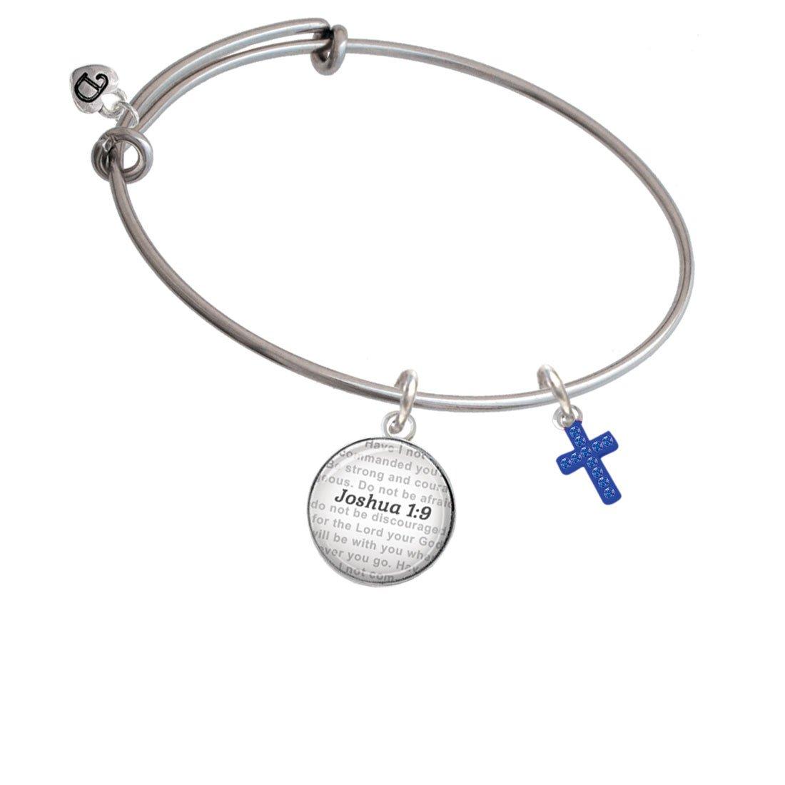 Bible Verse Joshua 1:9 Glass Dome Bangle Bracelet Silvertone Small Enamel Crystal Cross