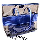 Starbailey Women 2 Piece Tote Bag,Pu Leather Semi Clear PVC Handbag Shoulder Purse Bags, Summer Fashion Weekender Bag -Blue Color