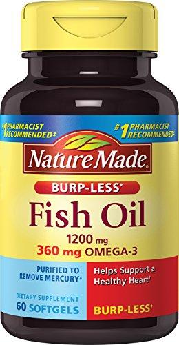 Nature Made Burp-Less Fish Oil Omega-3 Softgels, 1200 mg, 60