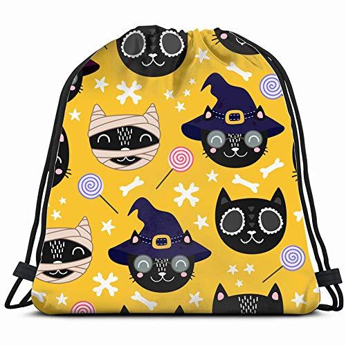 halloween pattern cute black cat animals wildlife Drawstring Bag for Women Drawstring Hiking Backpack Gym Bag for Women 17X14 Inch -