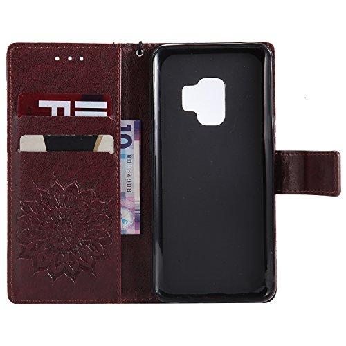 Funda Samsung Galaxy S9 - Alta Calidad Flip PU Cuero Caso Sol Patrón en Relieve /Stent/Billetera/Con el Sostenedor de Tarjeta/Proteccion Caso Cubrir para Samsung Galaxy S9(Rosa) Marrón