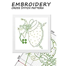 Mini christmas designs cross-stitch counted Woodland fairy silhouette cross stitch pattern Green fairies princess miniature needlepoint home decor Magic tooth fairies for fairy garden for girls kids