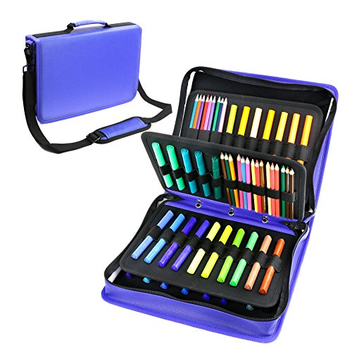 YOUSHARES Colored Pencil & Gel Pen Case in Large Flexible Sl