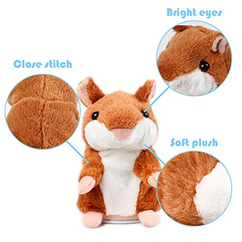 TOPS HOME Moving and Talking Hamster Repeats What You Say, Cute Plush Interactive Toy Ideal for Birthday Present Gift, Valentines Gift and Children Gift