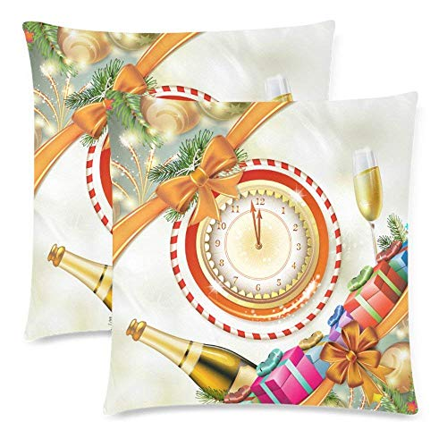 Spun Glass Reindeer (SPXUBZ Christmas Card Gifts with Champagne Glasses and Bottle Christmas Decor Pillow Cover Home Decor Nice Gift Square Indoor Pillowcase Set of 2 (Two Sides))