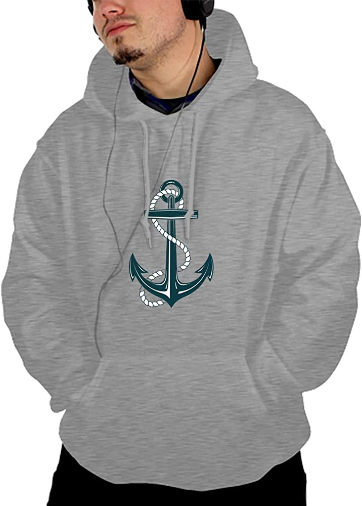 SHUIZHIQING Unisex Heart with Anchor 3D Printed Big Pockets Pullover Hoodie Sweatshirt
