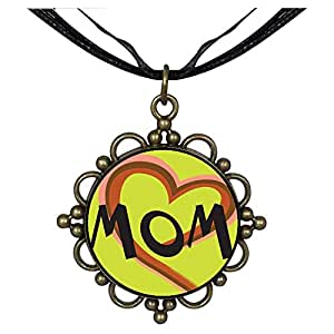 Chicforest Bronze Retro Style Colorful Heart And Mom Round Flower Pendant