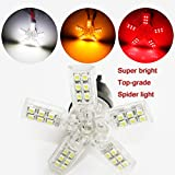 BYOPTO 2 Pcs (White T20 7440 W21W) 5-arm 40SMD Spider LED Car Auto Turn Reverse Signal Light DC12V
