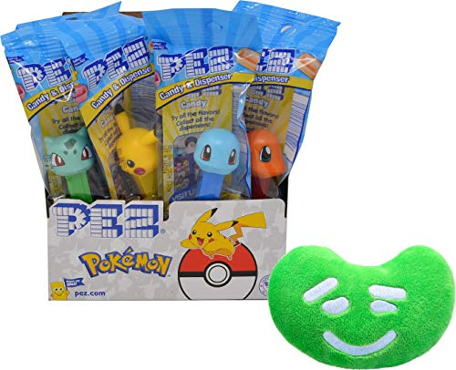 PEZ Pokmon Candy Dispenser By The Cup Gift Set (Pack of 12) with Jelly Belly Mini Emoji Plush