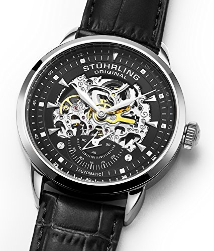 Stuhrling Original Mens Automatic Watch Skeleton Watches for Men - Black Leather Watch Strap Mechanical Watch Silver Executive Watch Collection (Black)