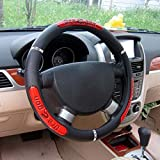 Rayauto Synthetic Leather Reflective Dragon Steering Wheel Cover -Odorless, Cooler Hands in Summer, Warmer Hands in Winter (Red)