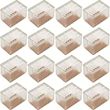 16Pack Chair Leg Floor Protectors Rectangular Chair Leg Caps Silicone Table Chair Feet Protectors Fit Length 1-9/16'' to 1-13/16'' & Width 1'' to 1-3/16'' with Felt Pads