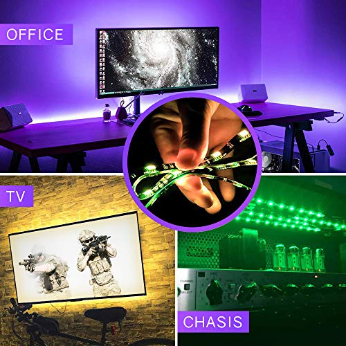 LED Strip Lights, HitLights Waterproof 4 Pre-cut 12Inch/48Inch RGB LED Strips Kit, Flexible Color Changing SMD 5050 LED Accent Kit with RF Remote, UL-Listed 15W Power Supply and Connectors