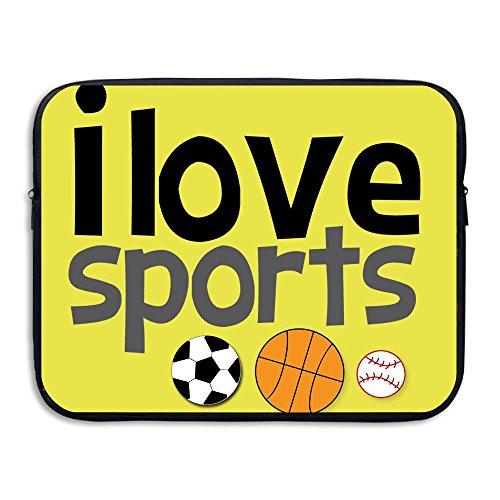 Computer Bag Laptop Case Slim Sleeve I Love Sports Soccer Football Basketball Waterproof 13-15in IPad Macbook Surfacebook by Michelle Brightful