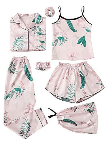 (SheIn Women's 7pcs Pajama Set Cami Pjs with Shirt and Eye Mask X-Large Pink)