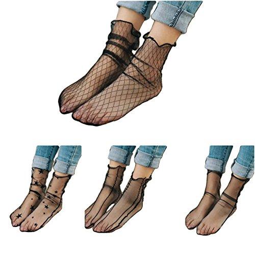 (Fishnet Socks Novelty Knee Socks Women's Lace Fishnet Ankle Socks Black Lace Ankle Socks Dress Socks 4 Pairs)