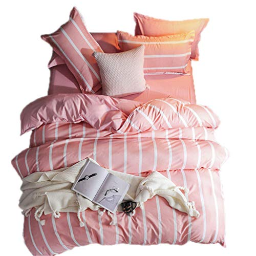 (Beddingwish 3Pcs Pink and White Vertical Stripe Duvet Cover,Breathable,Reversible,Polyester (No Comforter) Bedding Set Twin for Girls and Kids -Pink and White)