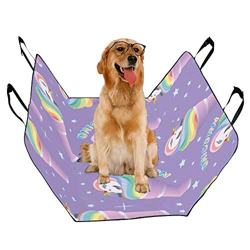 ENEVOTX Dog Seat Cover Custom Magic Design Style Cute Unicorn Printing Car Seat Covers for Dogs 100% Waterproof Nonslip Durable Soft Pet Car Seat Dog Car Hammock for Cars Trucks SUV