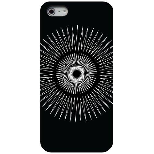 CUSTOM Black Hard Plastic Snap-On Case for Apple iPhone 5 / 5S / SE - Black White Star Bursts Custom Plastic Cases