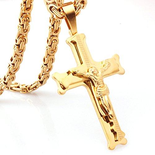 W&W LOVE New Men Boy Stainless Steel Gold Cross Pendant Necklace 6mm Byzantine Chain - Ww.n W
