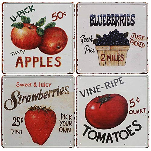 SIGNT Vintage Fruit Signs Vine Ripe Tomatoes,Sweet Juicy Strawberries,Tasty Apples,Fresh Picked Blueberries Reto Vintage Tin Bar Sign Country Home Decor Wall Decoration Signs Gifts Size 4pcs-12X12inch