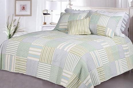 Amazon Com Spa Stripe S 100 Cotton 3pc Vermicelli Quilted